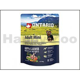ONTARIO Adult Mini Lamb & Rice 0,75kg